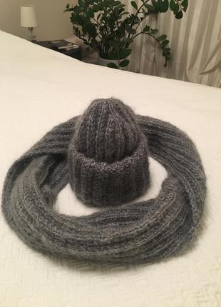 Мохеровые шапка и снуд серого цвета