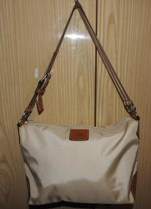 Bogner сумка бежевая с кожаной отделкой брендированная фурнитура