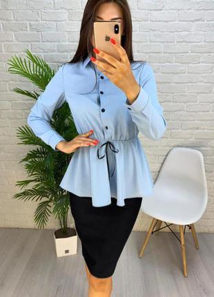 3цвета/костюм с юбко/черная юбка рубашка блузка блуза белая голубая пудровая с рюшами баской