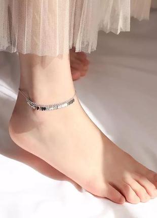 Очень красивый браслет на ножку , серебро 925