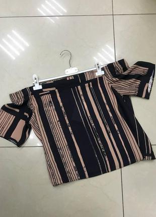 🆘🔥последняя цена до 12 сентября 🆘🔥     черно бежевая блуза с открытыми плечами