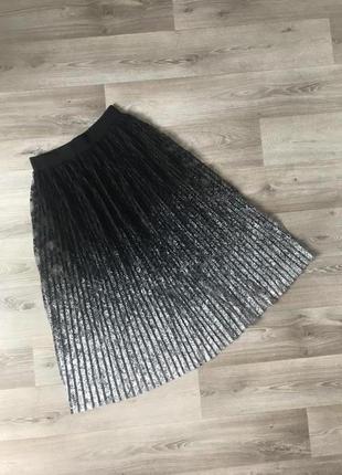 Кружевная юбка плиссе с серебряным напылением #развантажуюсь