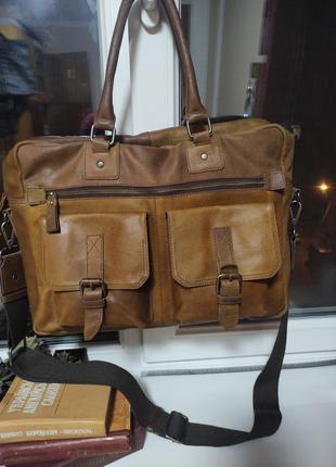 Zign сумка коричневая мужская портфель кожаный на плечо для ноутбука документов
