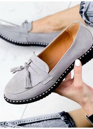 Женские туфли лоферы натуральная замша серые arva