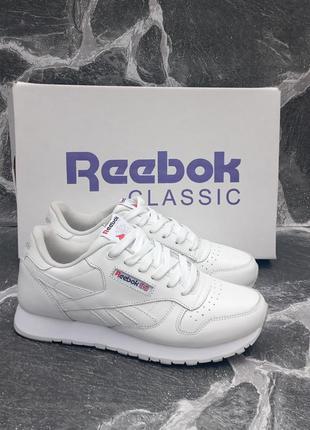 Женские кроссовки reebok classic белые, кожаные, осенние