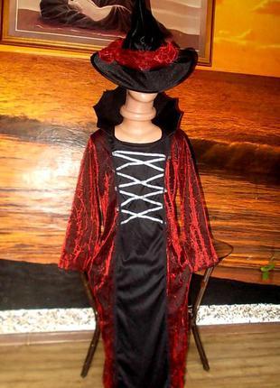 Платье+шляпа для волшебницы ростом 140см