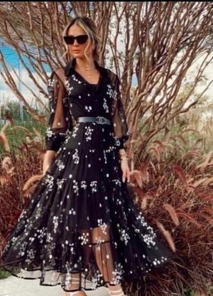 Шикарное платье в пол, шифон, люкс качество, стамбул, размер с,последнее.