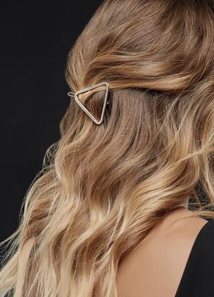 Заколка зажим для волос треугольник, золото