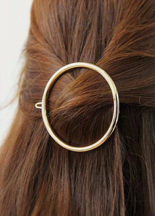 Заколка зажим для волос круг, золото