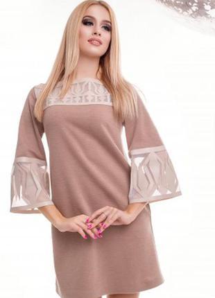 Стильное короткое бежевое платье из крепа 42 р