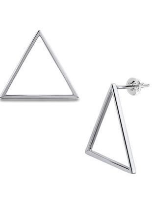 Серебряные серьги гвоздики треугольники