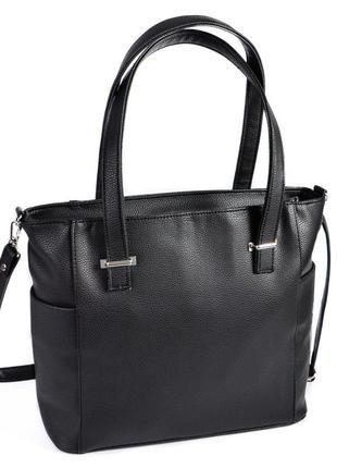 Сумка шоппер черная большая классическая на плечо