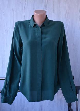 Зеленая шелковая блуза