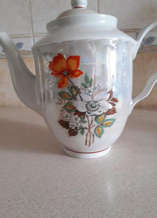 Винтажный фарфоровый большой чайник  барановка ссср
