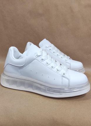 Кроссовки криперы белые на прозрачной подошве экокожа all white  высокая платформа женские 2021