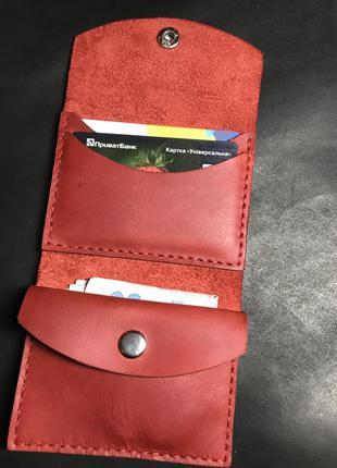 Красный кошелёк картхолдер из натуральной кожи маленький