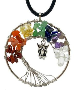 """🦉🌳 кулон-амулет """"сова на дереве жизни + 7 чакр""""  ассорти натуральных камней"""