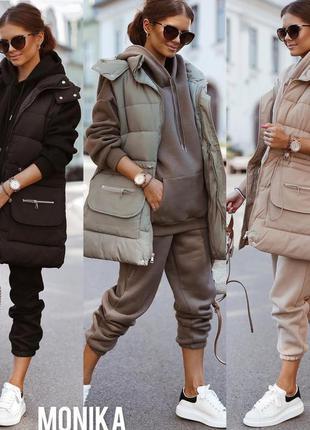 Костюм тёплый 3-ка жилетка непромокаемая на силиконе, худи и штаны трехнить