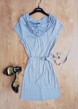 Необыкновенное серое платье с шарфом-шлейфом, s, италия, kor-a-kor оригинал, нюанс!