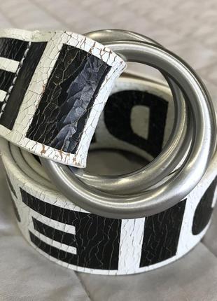 Белый кожаный ремень р.75 diesel