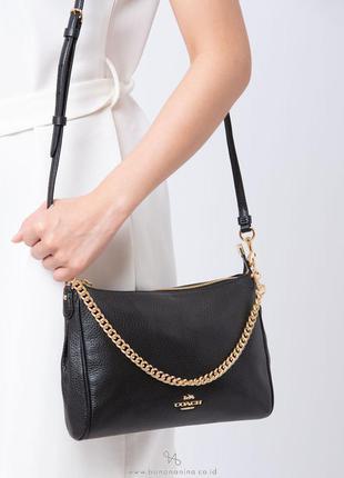 Черная сумка через плечо carrie из натуральной кожи coach, оригинал