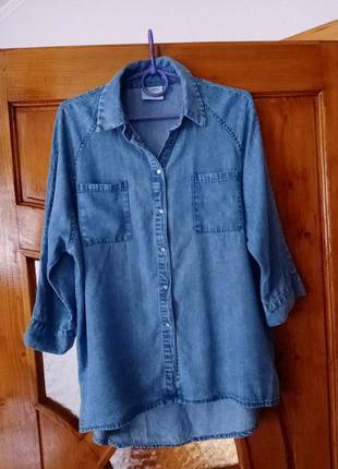 Джинсовая рубашка оверсайз с 3/4 рукавом vero moda oversizes