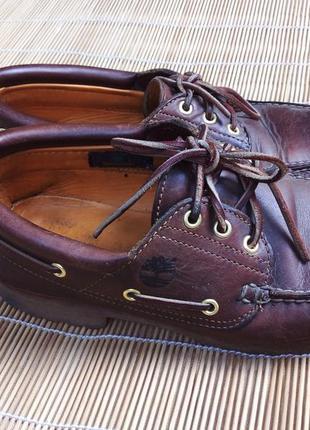 Кожанные массивные туфли топсайдеры timberland