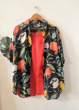Винтажная рубашка в цветочно-абстрактный принт yessica