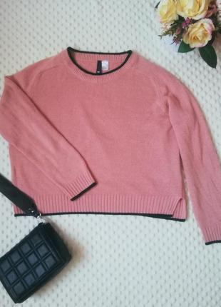 Розовый укорочений свитер оверсайз свитерок