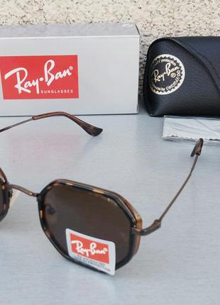 Ray ban очки унисекс солнцезащитные коричневые линзы из минерального стекла