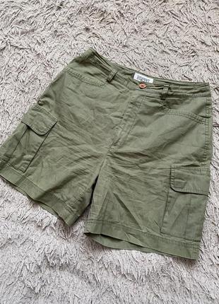 Короткие шорты хлопковые с высокой посадкой и карманами
