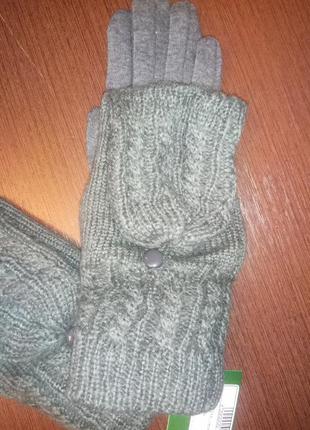 Комбинированные перчатки-варежки с откидной частью на пуговке
