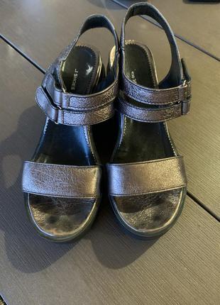 Босоножки сандали летние на платформе бронзовый кожа цвет
