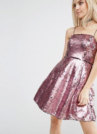 Asos блестящее розовое платье в пайетки