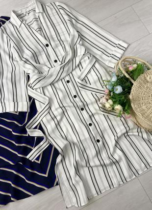 Белое платье в полоску river island, размер 8