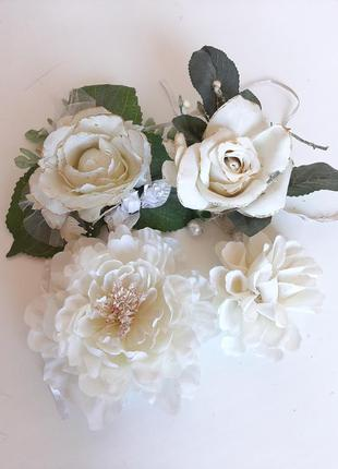 Искусственные цветы белые  набор 4шт для творчества
