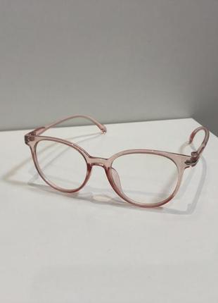 Имиджевые очки розовые с прозрачным стеклом
