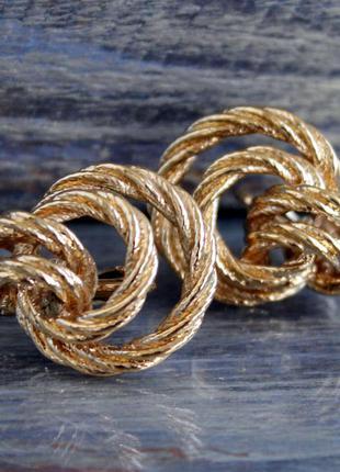 Винтажные золотые клипсы-узелки,  бижутерия avon