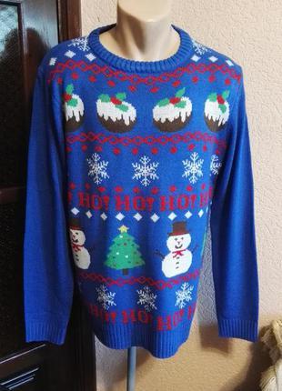 Свитер новогодний синий мужской,размер м (46-48размер) от christmas