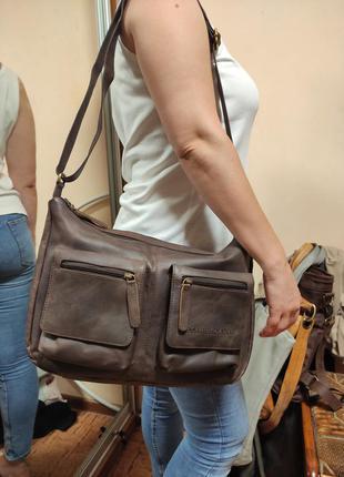 The chesterfield brand темно коричневая мужская сумка  на плечо кожаная