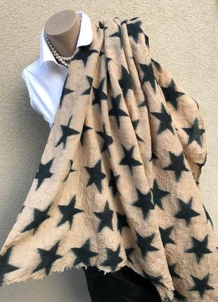 Большой,шелк-шерсть шарф,палантин в звёзды,beck sondergaard,