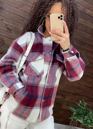 Теплая , байковая женская рубашка-пальто