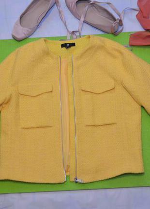 Яркий жакет, короткая желтая куртка букле на молнии, с-м