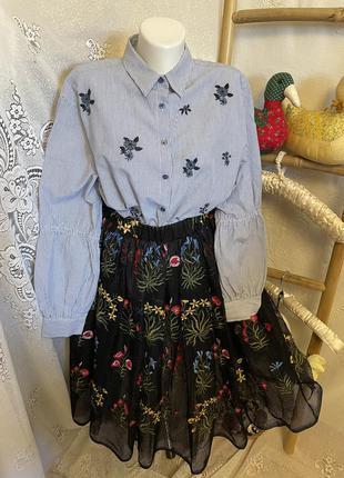 Рубашка блуза кофточка вышиванка вышивка цветочный принт