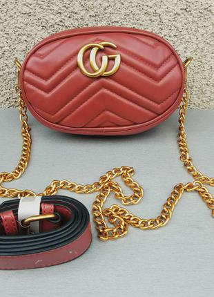 Gucci сумочка женская бордо с золотым логотипом
