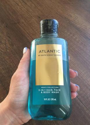 3-в-1 гель для душа bath and body works signature men's collection atlantic 3-in-1 hair, face & body