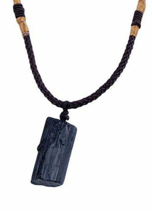 Кулон, подвеска черный турмалин ,шерл камень 100%.оригинал.