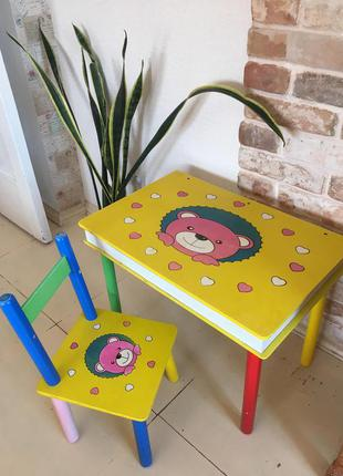 Стол и стул, комплект мебели для малышей на реставрацию