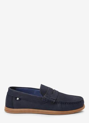 Синие замшевые туфли лоферы next размер 2 на 34.5 22 см по стельке