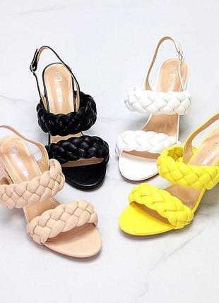 Коса босоножки плетенка 🌿 на каблуке устойчивом косичка сандалии